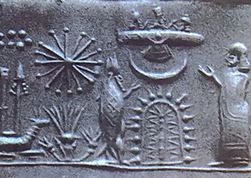 Sumerian seal showing a worshipper and a fish-garbed sage before a stylised tree with a crescent moon & winged disk set above it. Wikimedia Commons.