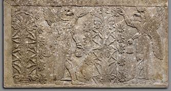 Assyrian stone relief. Mesopotamia, Nimrud (ancient Kalhu). Ca. 883–859 BC. The Metropolitan Museum of Art.